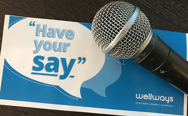 Microphone and 'have your say' pamphlet