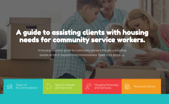 Front page of the Housing Guide website