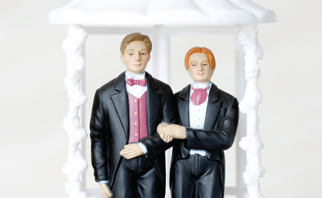 wedding cake topper of two men