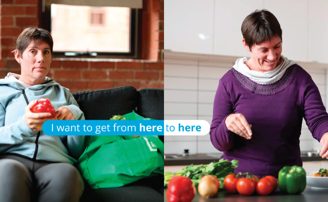 Advertisement showing woman on left holding a capsicum and same woman on right cooking in a kitchen