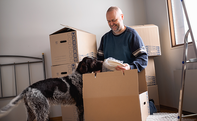 Man unpacking boxes with his dog