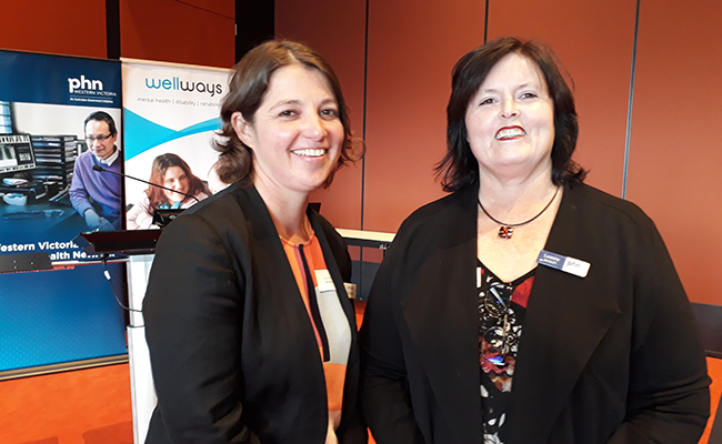 Kate Higgins, Wellways Western Victoria regional manager and Leanne Beagley, CEO Western Victoria PHN