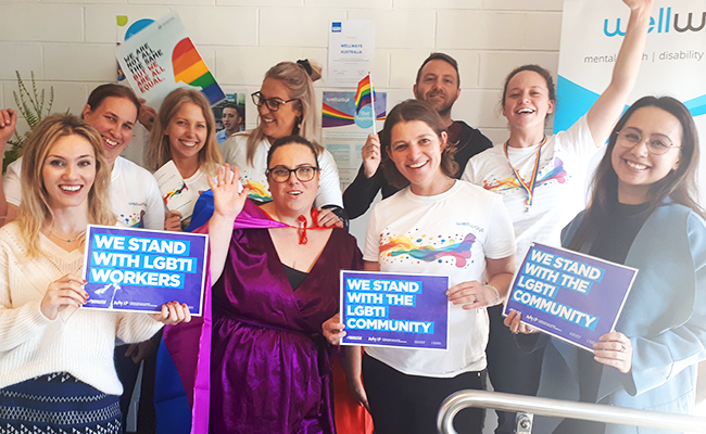 The Geelong Wellways team celebrating IDAHOBIT