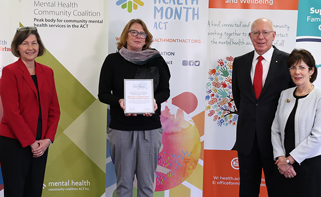 Award presentation, with Wellways COPE Support Worker Fiona Brown receiving the award from the Governor-General