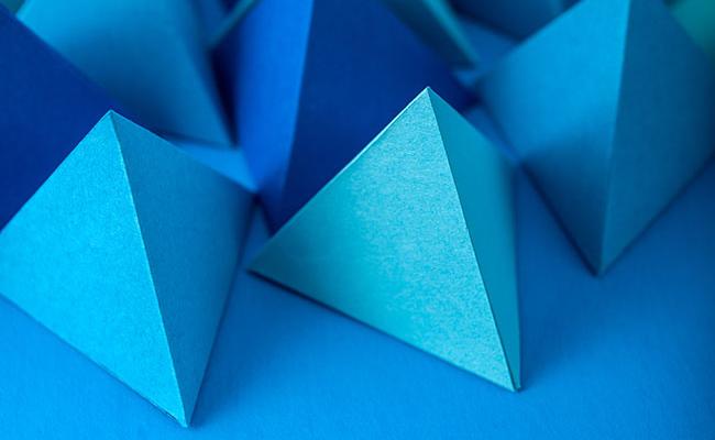 Blue paper pyramids
