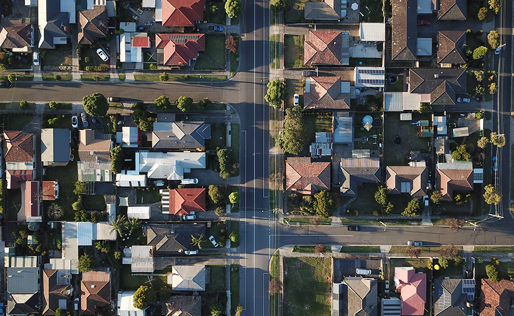 Arial view of suburban houses in Melbourne