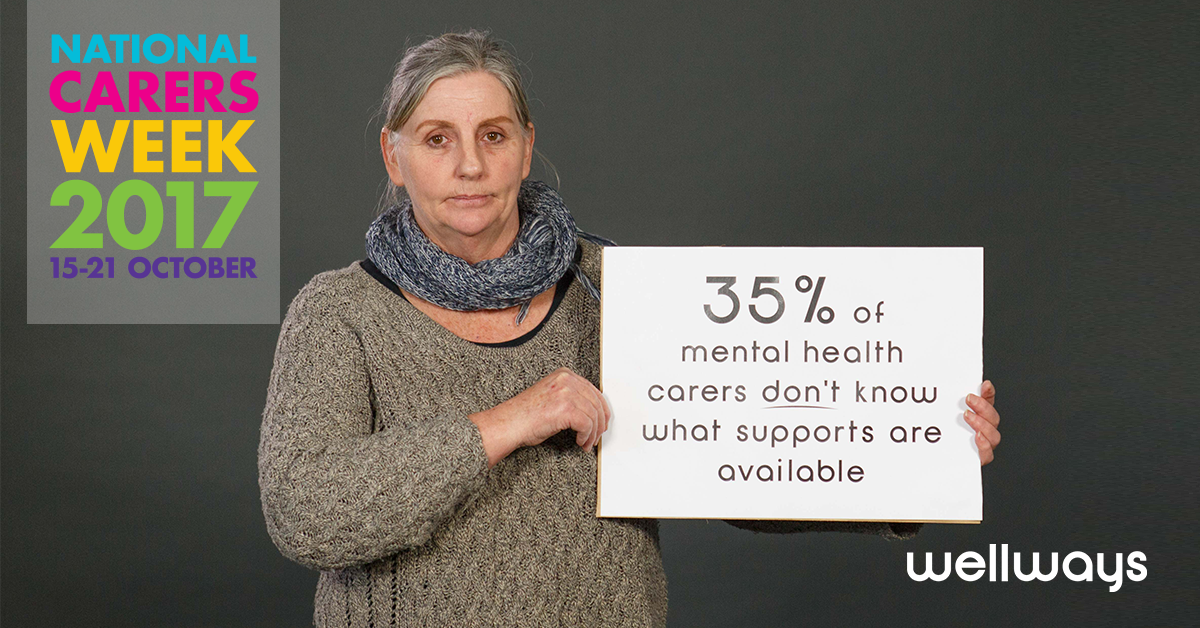 Woman holding sign saying '35% of mental health carers don't know what supports are available'
