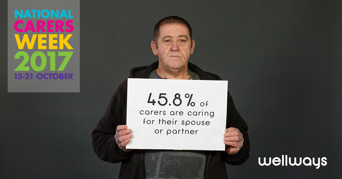 Man holding sign saying '45.8% of carers are caring for their spouse of partner'