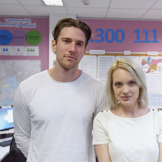 Portrait of Josh and Elle Helpline volunteers