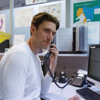 Helpline volunteer Josh on a call
