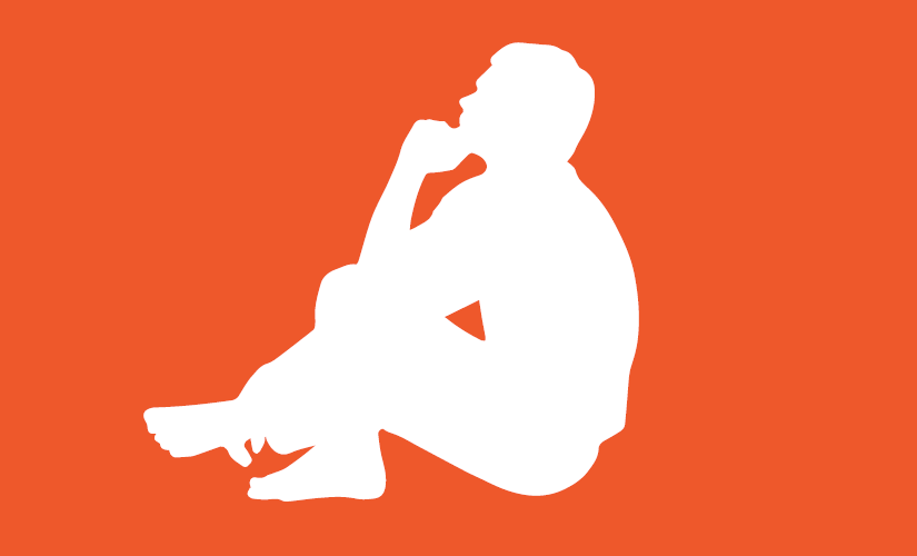 Outline of a person sitting and thinking