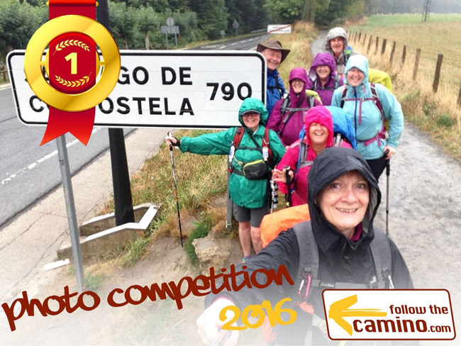Group of travellers taking a selfie on the camino walk