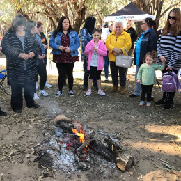 Wellways Staff in rural NSW surrounded by a campfire