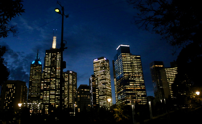 Melbourne skyscrapers at night