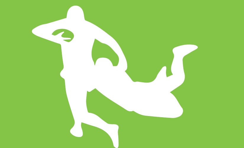 Outlines of two football players tackling